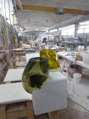 Osmosi Furniture - Work in Progress - Carrara Marble and Hand Blown Glass Murano