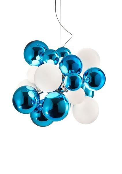 Digit Light Regular - Ceiling - Mirrored Acquamarine and White Lattimo
