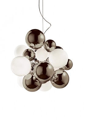 Digit Light Large - Ceiling - Mirrored Warm Grey and White Lattimo