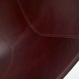 Deatail of Jangada, leather in Rosso Inglese